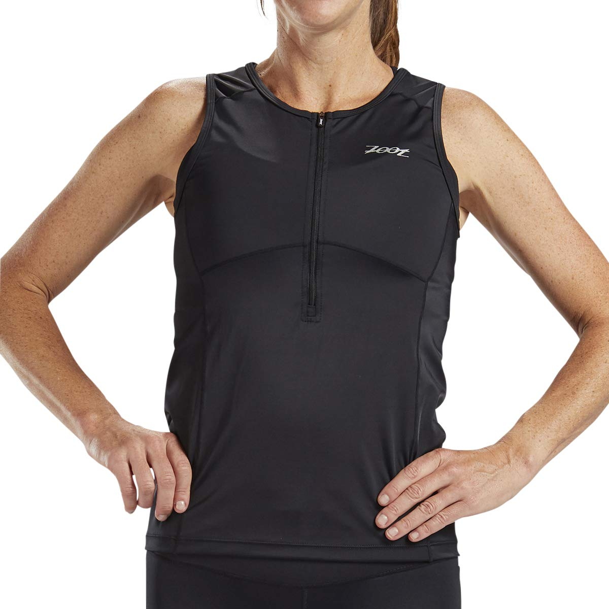 Zoot Women's Core Tri Tank - Performance Triathlon Top with Mesh Panels and 3 Pockets (Black, X Small)