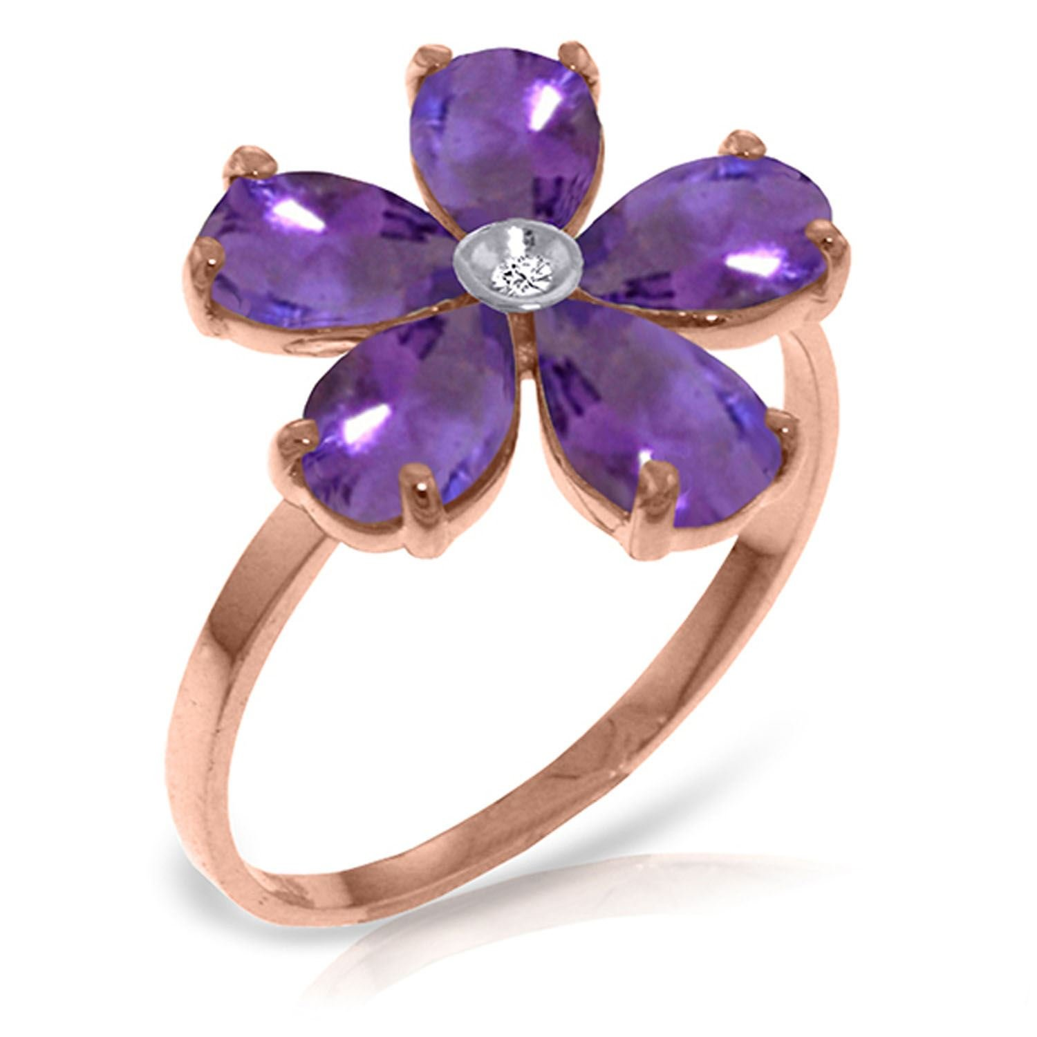 ALARRI 14K Solid Rose Gold Ring w/ Natural Diamond & Purple Amethysts With Ring Size 8.5