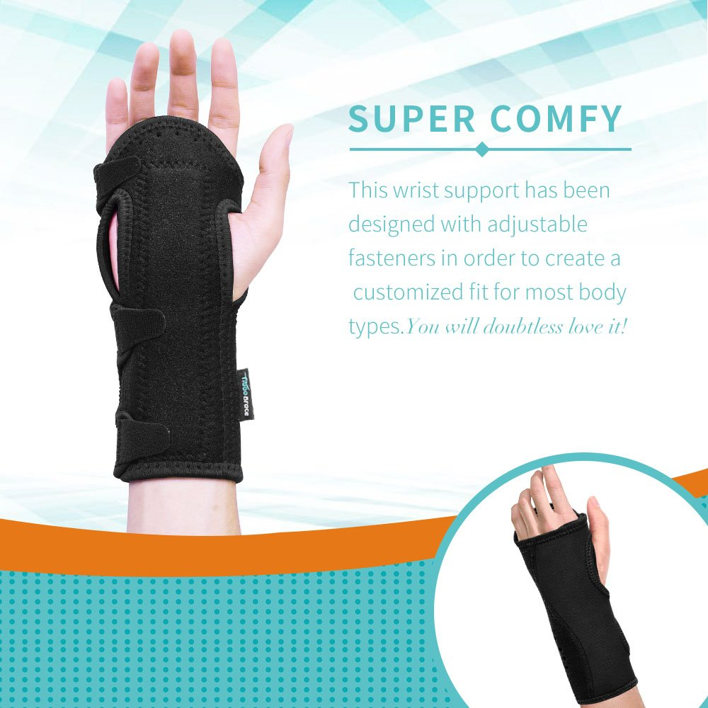 Fibee Night Wrist Sleep Support Brace, Palm Cushion Relieves Carpal Tunnel, Tendonitis, Ulnar Pain Etc, Wrist Splint for Men and Women, Night Wrist Brace with Metal Support for Right Left Hand(Pairs) by fibee (Image #5)