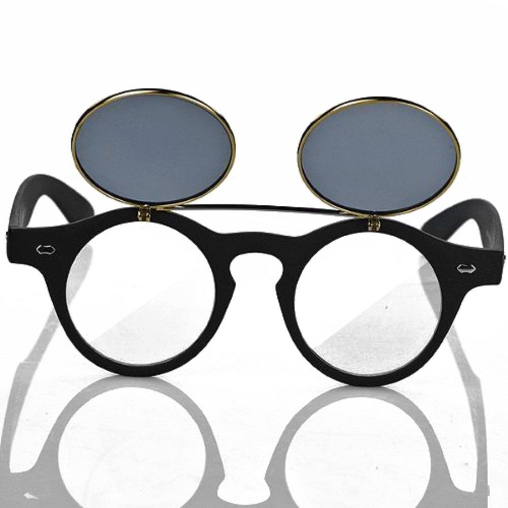Hot hommes femmes Punk Style Rétro à vapeur rond à rénover Vintage Lunettes de soleil Lunettes miroir Objectif Double pour cercle Lunettes Lunettes de soleil noir Noir taille unique v9Z01u