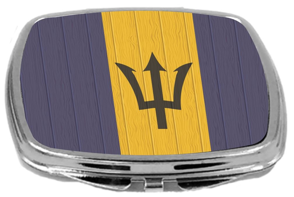 Rikki Knight Compact Mirror on Distressed Wood Design, Barbados Flag, 3 Ounce