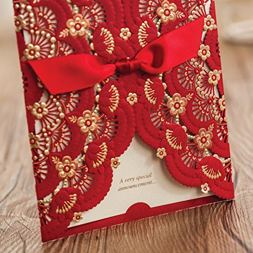 Red Lace Flower Invitation Cards Laser Cut Hollow-out Floral with Ribbon Bow Wedding Announce Invitations CW5113 (100) by Wishmade (Image #2)
