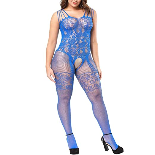 2c57f722967 Image Unavailable. Image not available for. Color  VivilY Womens Strap  Floral Crotchless Body Stocking Plus Size Bodysuit ...