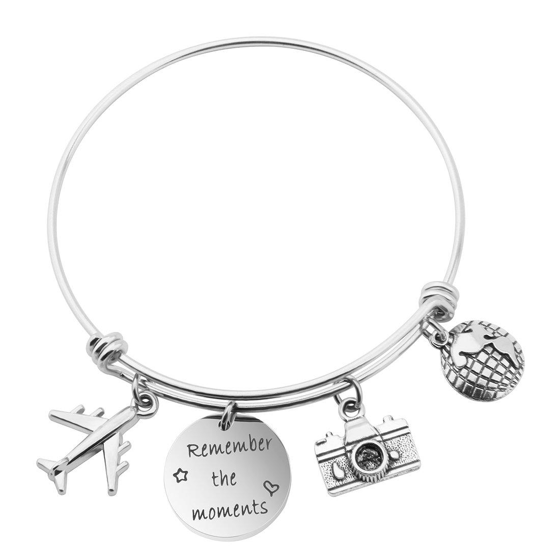 MAOFAED Travel Bracelet Remember the moments Traveler Bracelet Gift for Pilot flight attendant Trip Jewelry(Remember the moments Bracelet)