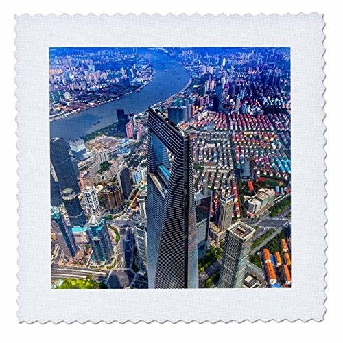 3dRose Danita Delimont - Cities - Cityscape of the Financial District of Shanghai, China. - 10x10 inch quilt square (qs_276769_1)