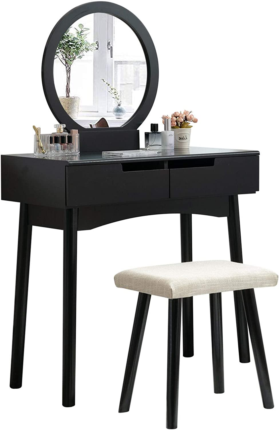 Unihome Vanity Table Set Makeup Table with Round Mirror and Stool Small Dressing Tables with Drawers Makeup Vanity Table Black-26, 2Drawers