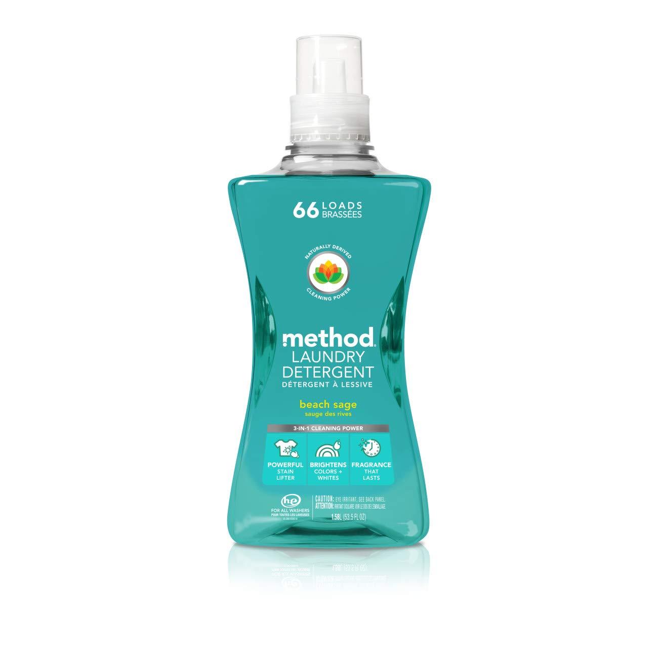 Method Laundry Detergent, Beach Sage, 53.5 Ounces, 66 Loads (2 Pack)