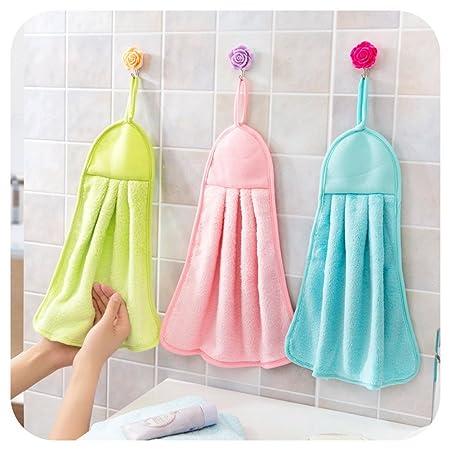 Absorbent Microfiber Hand Towel Bathroom Kitchen Hanging Cloth Towel Useful