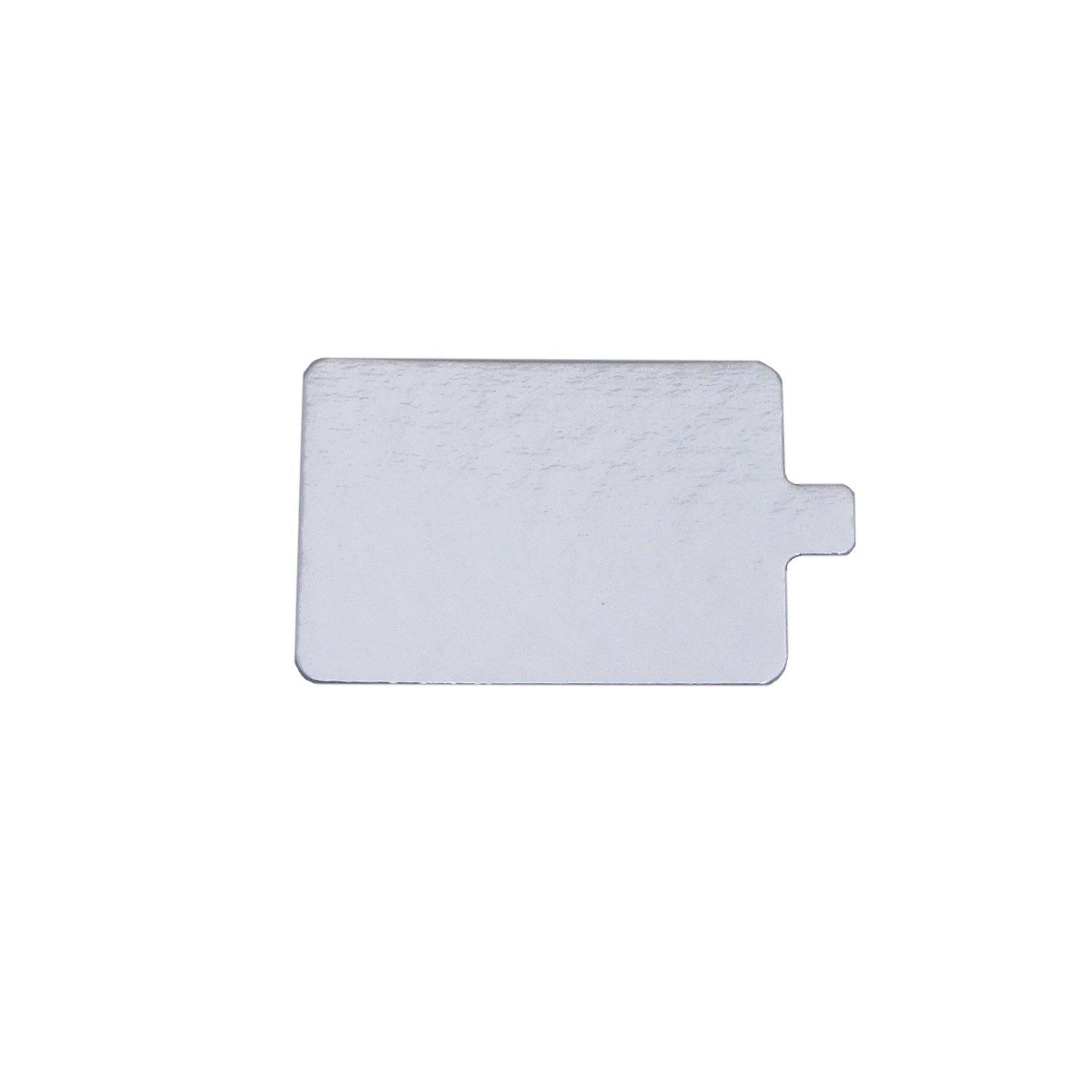 25, 2.75 x 4 Rectangular Silver Mono-Portion Pastry Board with Tab