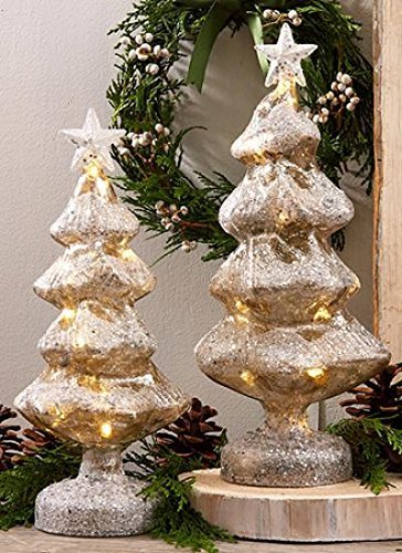 twos company set of 2 led silver glass christmas tree decorations