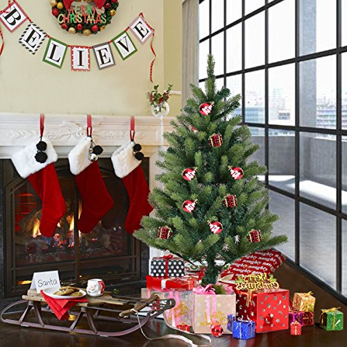 Goplus 4FT Artificial Christmas Tree PE & PVC Mixed Needles Carolina Pine Tree with Metal Stand