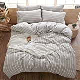 DOLDOA Duvet Cover Set,Washed Cotton Bedding Down Comforter Cover Set,3 Piece (1 Duvet Cover + 2 Pillow Shams) (Queen - 90 x 90 inch, Stripe/Grey 1)