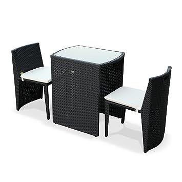 Alices Garden - Conjunto de Mesa y sillas de Jardin Ratan Sintetico - Negro/Marron, Cojines Crudo - 2 plazas - Doppio