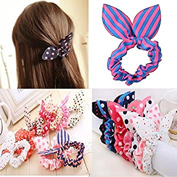 Amazon.com   5X Cute Girls Rabbit Ear Hair Tie Bands Ropes Ponytail Holder    Beauty 6229405ce34