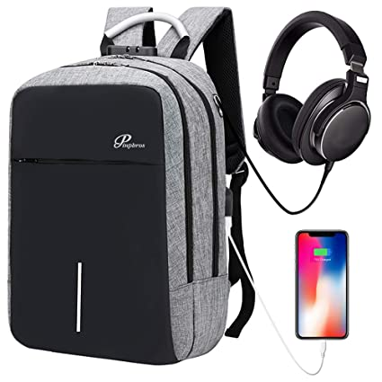 Laptop Backpack Business Travel Backpack For Men Women, Anti Theft Water Resistant College School Backpack Aluminum Handle With Usb Charging Port Headphone Interface Fits Under 14inch Laptop (Grey) by Pinpbros
