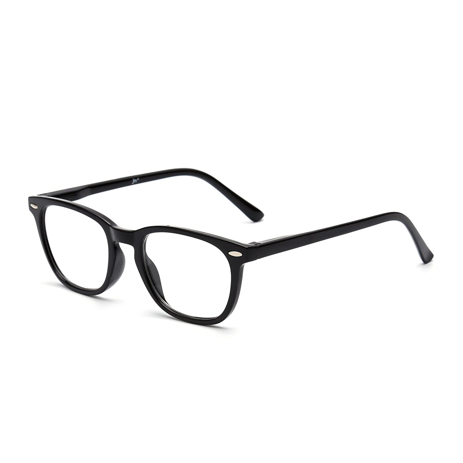 ed05477f824 Amazon.com  Retro Reading Glasses Spring Hinge Black Eyeglasses Readers Men Women  Eyewear for Reading +1.0  Health   Personal Care