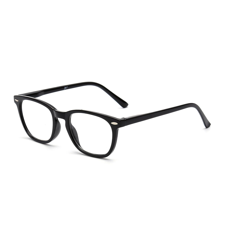 ad236119bf Amazon.com  Retro Reading Glasses Spring Hinge Black Eyeglasses Readers Men Women  Eyewear for Reading +1.0  Health   Personal Care