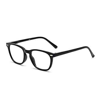 7f0cb791ec8 Amazon.com  Retro Reading Glasses Spring Hinge Black Eyeglasses ...
