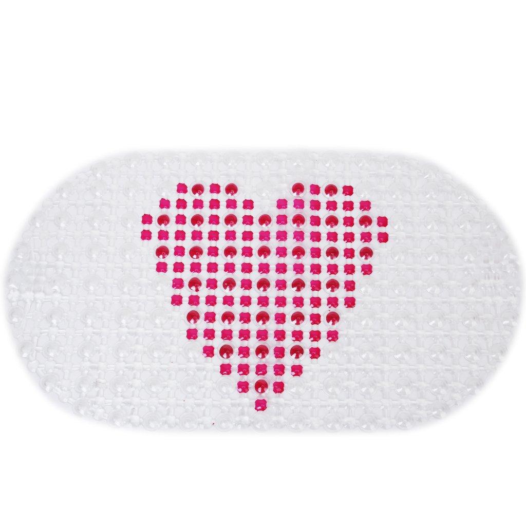 Heart-Pattern PVC Bathroom Floor Mat Non-Slip Mat Sonline SHOMPFL1168