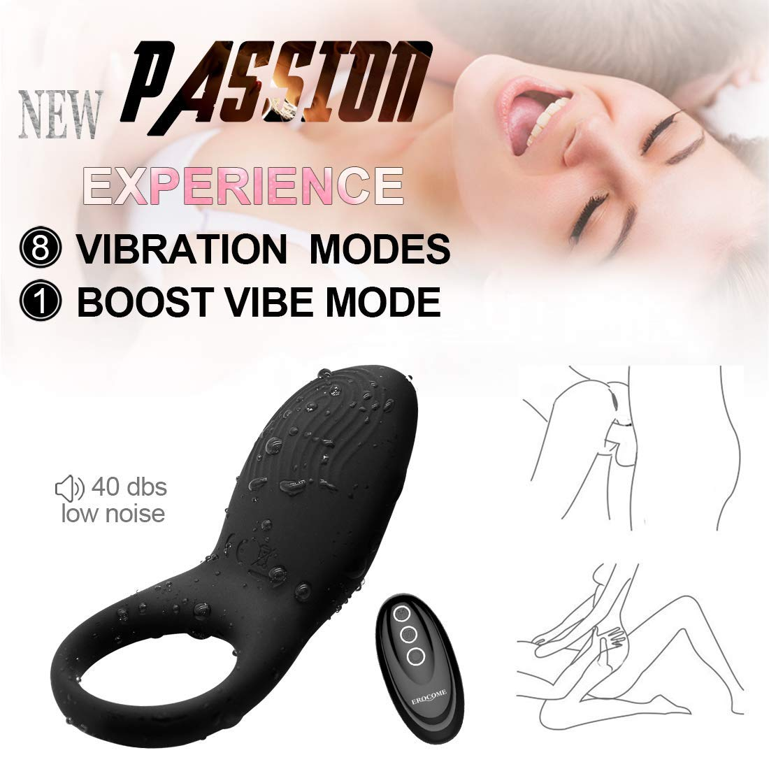 Waterproof Massage Tools 8 Speed Vibration Modes USBRechargeable Male Ring Massage with Remote Control Adult Toys for Men and Couple.