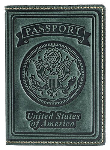 Villini 100% Leather US Passport Holder Cover Case For Men Women In 9 Colors (Green - Price Usa Review