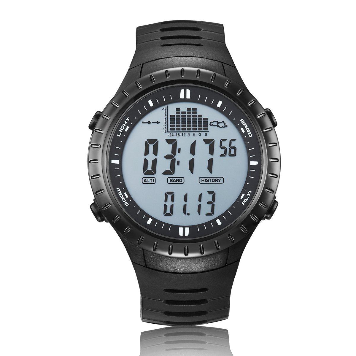 JUSHENG Spovan Multi function Men White Sports Alarm Altimeter Fishing Quartz Watches Electronic Fishing Barometer by JUSHENG
