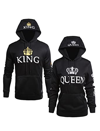2e4b91c137e Amazon.com  King Queen Hoodies Matching Couple Hoodies Set Hooded Pullover  Sweatshirts  Clothing