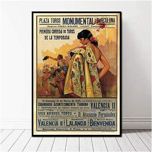 yhyxll Corrida de toros Vintage Ad Barcelona España Poster Canvas Art Print Cuadros de Pared para Sala de Estar Imprimir en lienzo-50x75cm Sin Marco: Amazon.es: Hogar