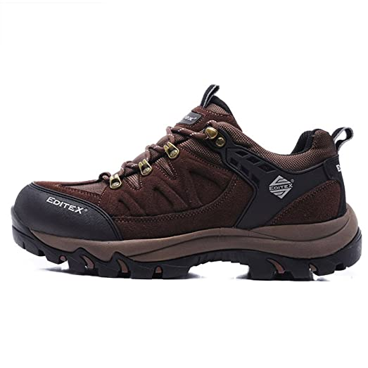 Editex Mans Outdoor Hiking Shoes Waterproof Leather Upper and Fabric Lining Rubber Outsole (BROWN (M)US)