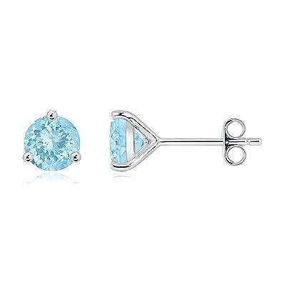 Angara Natural Martini Aquamarine Stud Earrings in Platinum pxmgRD6