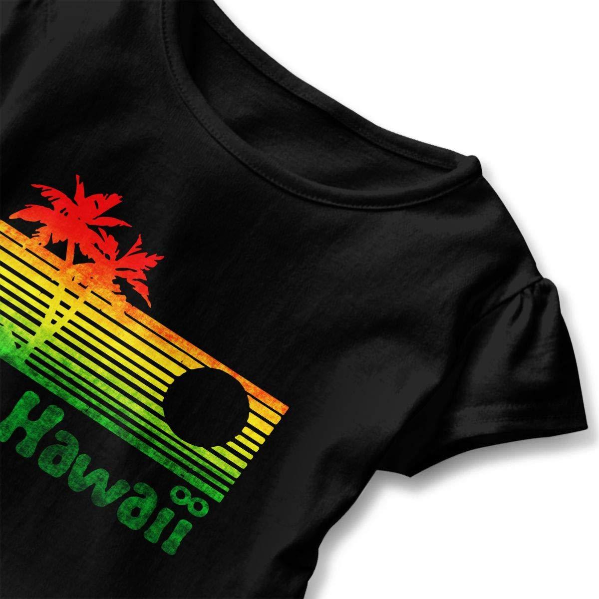 Retro Vintage Hawaii Scenery Toddler Girls T Shirt Kids Cotton Short Sleeve Ruffle Tee