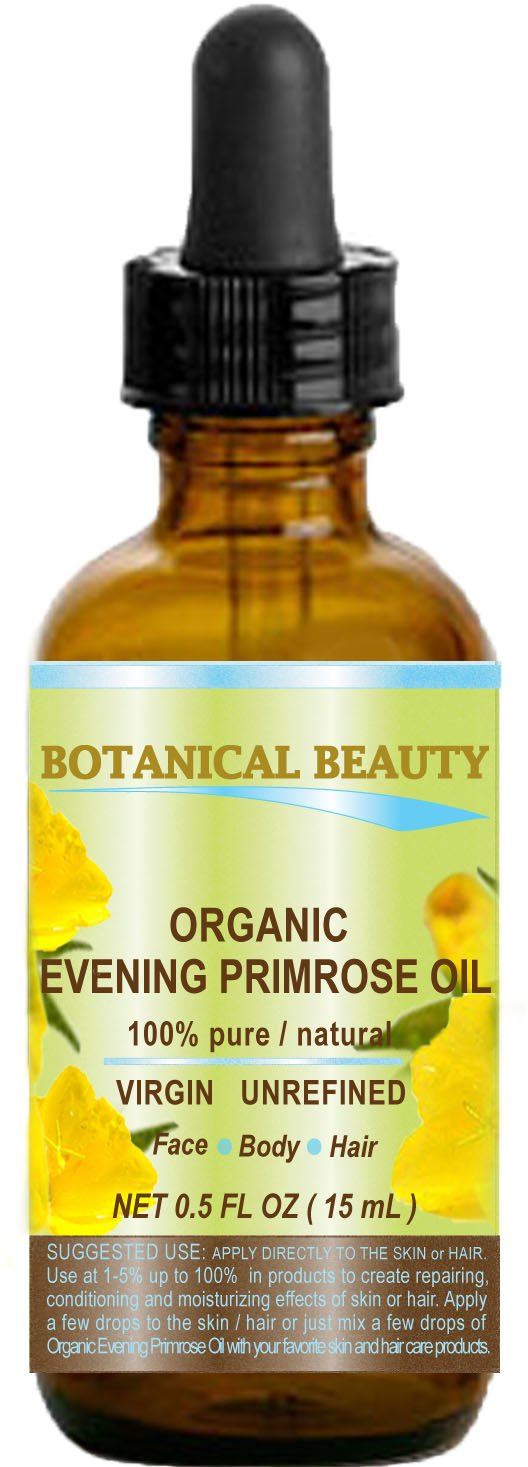 ORGANIC EVENING PRIMROSE OIL. 100% Pure / Natural / Undiluted / Unrefined /Certified Organic/ Cold Pressed Carrier Oil. Rich antioxidant to rejuvenate and moisturize the skin and hair. 0.5 Fl.oz.- 15 ml. by Botanical Beauty