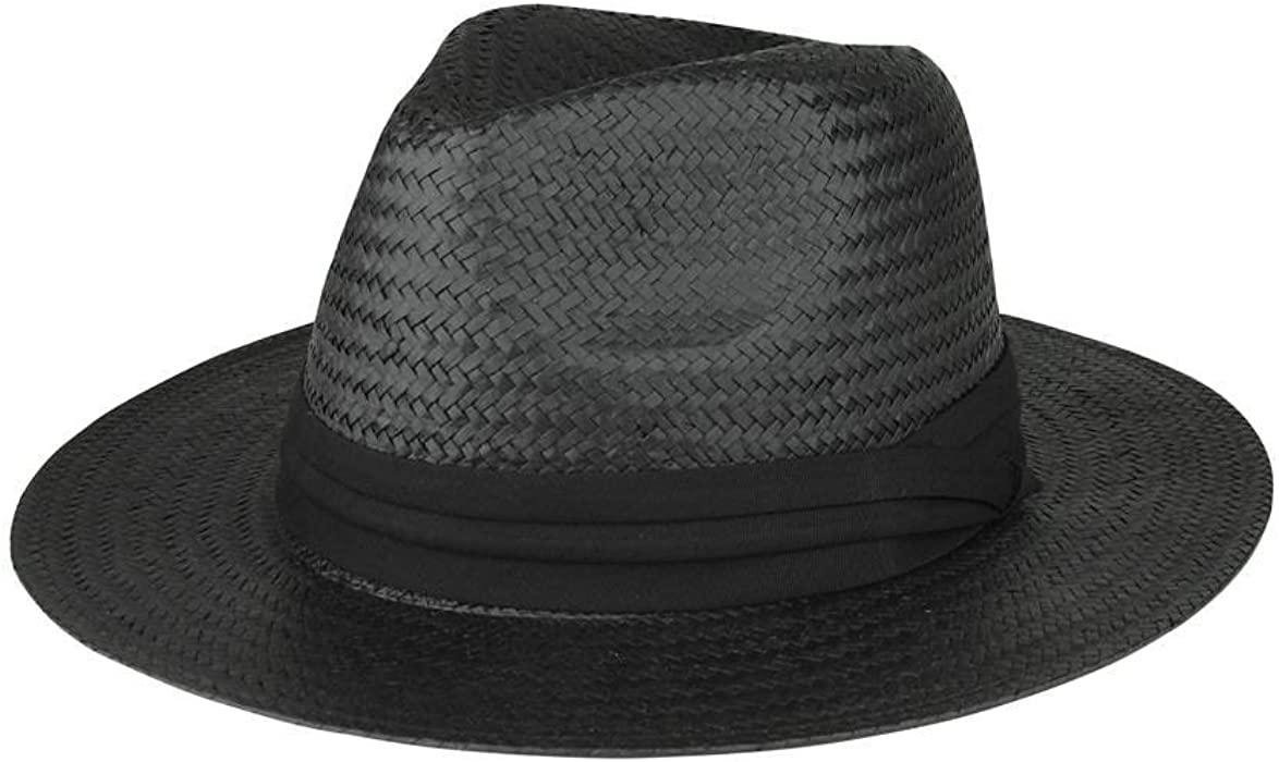 de71f7bc6 TOP HEADWEAR Toyo Paper Straw Fedora Hat - Black at Amazon Men's ...