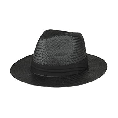 8e1029a51069d TOP HEADWEAR Toyo Paper Straw Fedora Hat - Black  Amazon.co.uk  Clothing