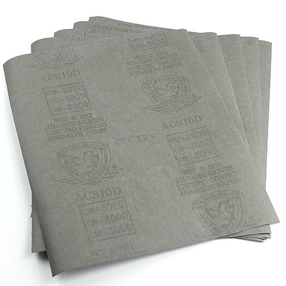 HeroNeo® 5feuilles papier abrasif 3000Grain papier imperméable 22, 9x 27, 9cm humide/sec en carbure de silicium 9x 27 9cm humide/sec en carbure de silicium HeroNeo® T055