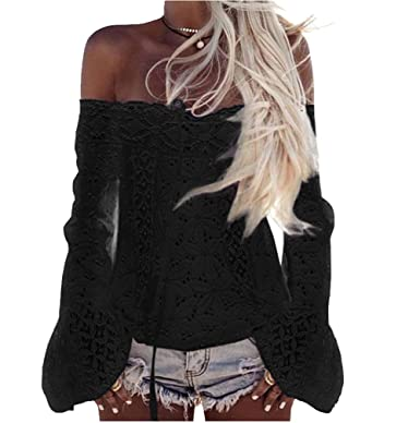 2d247d54350de9 Longwu Women Floral Lace Off The Shoulder Long Flare Sleeve Casual Shirt  Tops Blouse Black-M  Amazon.co.uk  Clothing