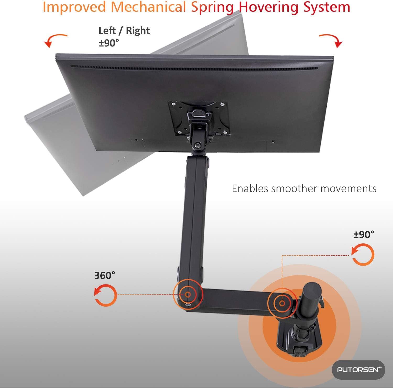 PUTORSEN® Support Écran PC Moniteur, Premium Aluminium Bras Articulé Ergonomique Ressort Mécanique pour Écrans 17