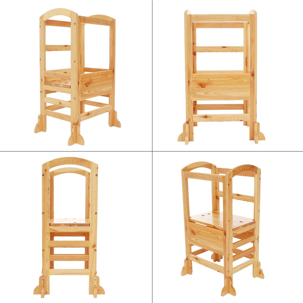UNICOO- Height Adjustable Kids Learning Stool, Kids Kitchen Step Stool, Toddler Stool with Safety Rail-Solid Hardwood Construction. Perfect for Toddlers (Burlywood-02) by UNICOO (Image #4)
