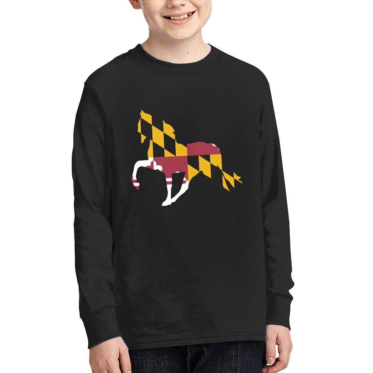 Teenagers Teen Girls Maryland Flag Horse Printed Long Sleeve 100/% Cotton Clothes