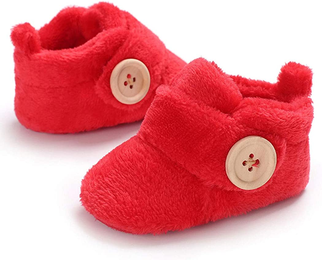 Infant Baby Cozy Fleece Slippers with Non Skid Bottom Newborn Boys Girls Winter Warm Socks Booties Stay On Crib House Shoes