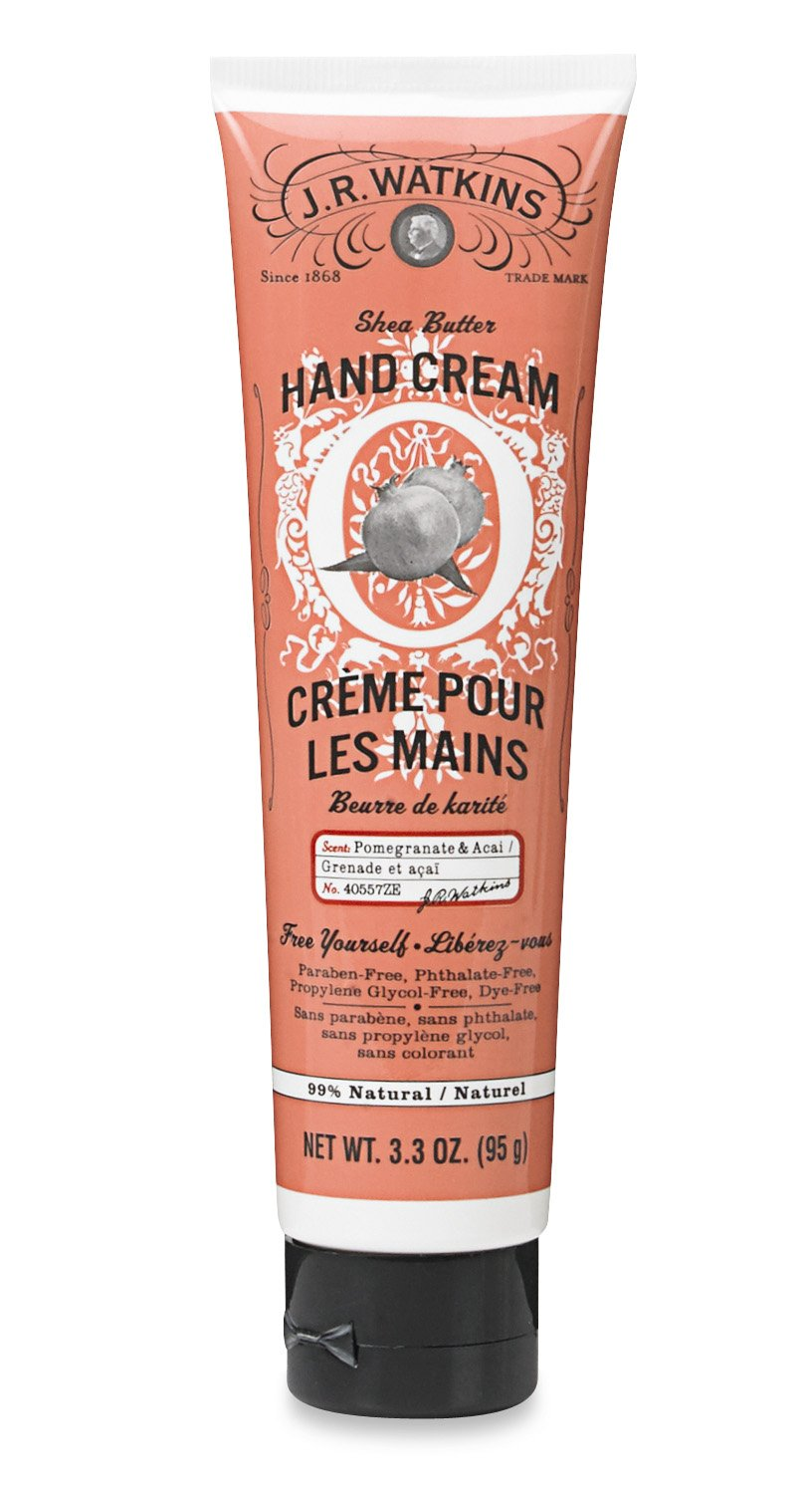 J.R. Watkins Hand Cream with Shea and Cocoa Butters, Pomegranate and Acai, 3.3 Ounce 21199