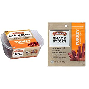 Old Wisconsin Turkey Sausage Snack Bites, 16 Ounce Resealable Tub with Two Stay-Fresh 8 Ounce Packs & Turkey Sausage Snack Sticks, 6 Ounce Resealable Package