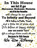 In This House We Do Disney - Poster Print Photo Quality - Made in USA - Disney Family House Rules - Frame not included (16x20, White with Stars Background)