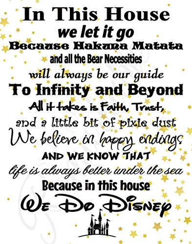 Disney Wall Plaque - In This House We Do Disney - Poster Print Photo Quality - Made in USA - Disney Family House Rules - Frame not included (16x20, White with Stars Background)