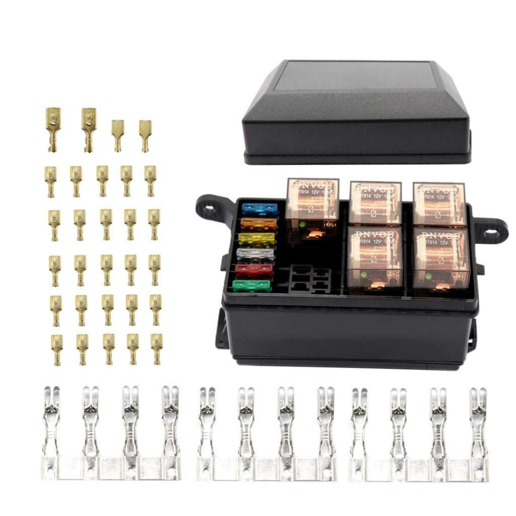 Backbayia 6-Wege-Sicherungsbox Relais Halterung f/ür Stromverteilung
