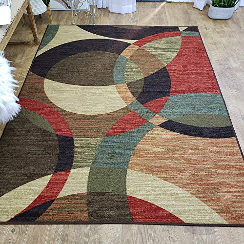 Area Rug 3x5 Colored Circles Kitchen Rugs mats | Rubber Backed Non Skid Rug Living Room Bathroom Nursery Home Decor Under Door Entryway Floor Non Slip Washable | Made in Europe