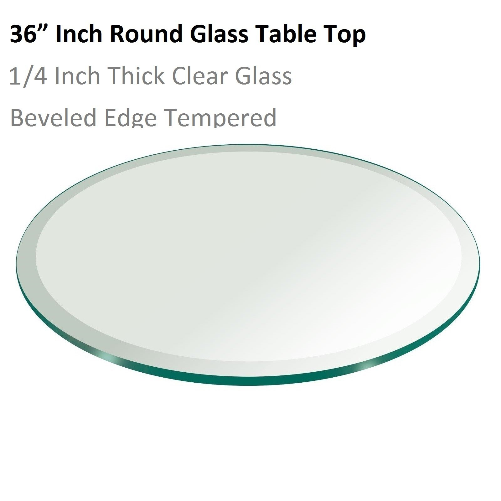 Fab Glass and Mirror 36'' Inch Round Glass Table Top 1/4'' Thick Tempered Beveled Edge