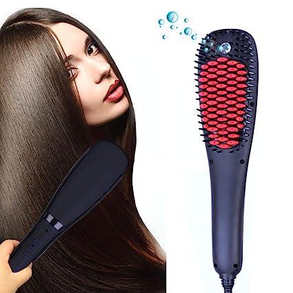 Cepillo alisador de cabello - Peine alisador eléctrico con indicador de temperatura LCD 150W calentamiento rápido