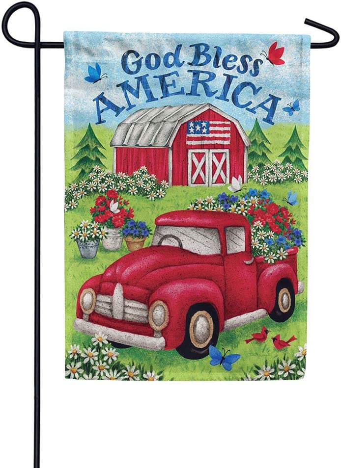 Custom Decor Truck & Barn God Bless America - Garden Size, Decorative Double Sided, Licensed and Copyrighted Flag - Printed in The USA Inc. - 12 Inch X 18 Inch Approx. Size