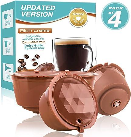 CAPMESSO Filtros Cápsulas de Café Recargable Reutilizable para Cafetera Dolce Gusto Version Mejorado Presión Aumentada Y Más Espuma vida útil más de 100 usos: Amazon.es: Hogar